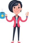Cartoon Girl with Short Hair Vector Character - Drinking Coffee