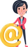 Cartoon Girl with Short Hair Vector Character - with Email sign