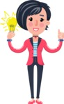 Cartoon Girl with Short Hair Vector Character - with an Idea