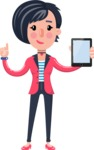 Cartoon Girl with Short Hair Vector Character - Holding tablet