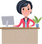 Cartoon Girl with Short Hair Vector Character - Sitting at desk