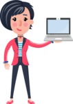 Cartoon Girl with Short Hair Vector Character - Showing a laptop
