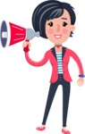 Cartoon Girl with Short Hair Vector Character - Holding a Loudspeaker
