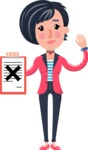 Cartoon Girl with Short Hair Vector Character - Holding a notepad with an X