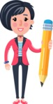 Cartoon Girl with Short Hair Vector Character - Holding Pencil