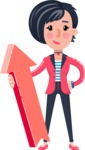 Cartoon Girl with Short Hair Vector Character - with Up arrow