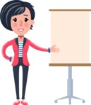 Cartoon Girl with Short Hair Vector Character - with a Blank Presentation board