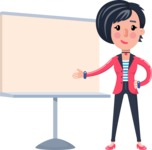 Cartoon Girl with Short Hair Vector Character - Pointing on a Blank whiteboard