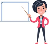 Cartoon Girl with Short Hair Vector Character - Making a Presentation on a Blank white board