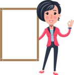 Cartoon Girl with Short Hair Vector Character - Making OK sign with Big Presentation board