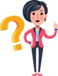 Cartoon Girl with Short Hair Vector Character - with Question mark
