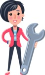 Cartoon Girl with Short Hair Vector Character - with Repairing tool wrench