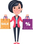 Cartoon Girl with Short Hair Vector Character - Holding shopping bags