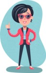 Cartoon Girl with Short Hair Vector Character - Shape 12