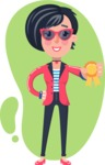 Cartoon Girl with Short Hair Vector Character - Shape 4