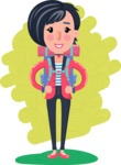 Cartoon Girl with Short Hair Vector Character - Shape 6