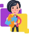 Cartoon Girl with Short Hair Vector Character - Shape 7