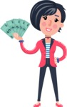 Cartoon Girl with Short Hair Vector Character - Holding Money