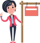 Cartoon Girl with Short Hair Vector Character - with Blank Real estate sign