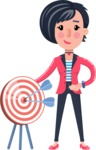Cartoon Girl with Short Hair Vector Character - with Target
