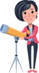 Cartoon Girl with Short Hair Vector Character - Looking through telescope