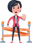 Cartoon Girl with Short Hair Vector Character - with Under Construction sign