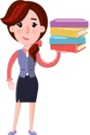 Flat marketing girl Cartoon Character - with Books