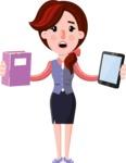 Flat marketing girl Cartoon Character - Choosing between Book and Tablet