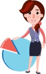 Flat marketing girl Cartoon Character - with Business graph