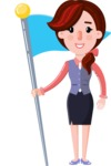 Flat marketing girl Cartoon Character - with Flag