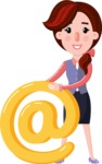 Flat marketing girl Cartoon Character - with Email sign