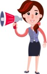 Flat marketing girl Cartoon Character - Holding a Loudspeaker