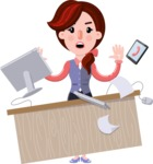 Flat marketing girl Cartoon Character - Stressed out