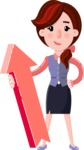 Flat marketing girl Cartoon Character - with Up arrow