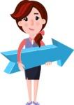 Flat marketing girl Cartoon Character - with Positive arrow