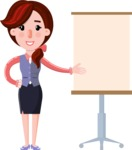 Flat marketing girl Cartoon Character - with a Blank Presentation board
