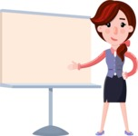 Flat marketing girl Cartoon Character - Pointing on a Blank whiteboard