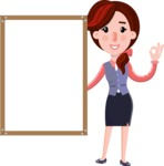 Flat marketing girl Cartoon Character - Making OK sign with Big Presentation board