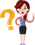 Flat marketing girl Cartoon Character - with Question mark