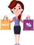 Flat marketing girl Cartoon Character - Holding shopping bags