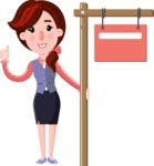 Flat marketing girl Cartoon Character - with Blank Real estate sign