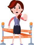 Flat marketing girl Cartoon Character - with Under Construction sign