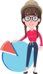Flat Fashionable Girl With Hat and Pigtails - with Business graph
