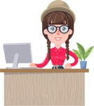 Flat Fashionable Girl With Hat and Pigtails - Sitting at desk