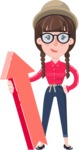 Flat Fashionable Girl With Hat and Pigtails - with Up arrow