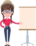 Flat Fashionable Girl With Hat and Pigtails - with a Blank Presentation board