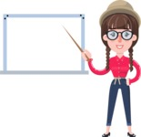 Flat Fashionable Girl With Hat and Pigtails - Making a Presentation on a Blank white board