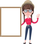 Flat Fashionable Girl With Hat and Pigtails - Making OK sign with Big Presentation board