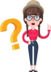 Flat Fashionable Girl With Hat and Pigtails - with Question mark
