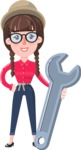 Flat Fashionable Girl With Hat and Pigtails - with Repairing tool wrench